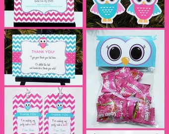 Owl Party Invitations & Decorations - full Printable Package - Pink - INSTANT DOWNLOAD with EDITABLE text - you personalize at home
