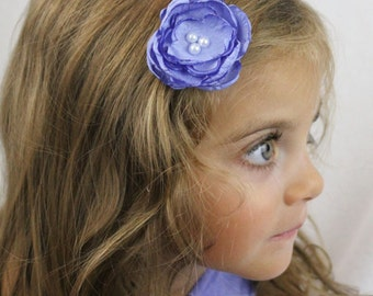 Periwinkle Flower Hair Clip - Small Periwinkle Boho Chic Flower with Pearls - Custom Colors Available