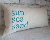 Beach Pillow, sun sea sand, STUFFED Decorative Pillow, Coastal Pillow, Nautical Pillow, Summer Home Decor, Burlap Lumbar Pillow