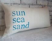 Beach Pillow, sun sea sand STUFFED Decorative Pillow, Coastal Pillow, Choose Colors, Nautical Pillow, Beach House Home Decor Burlap Pillow