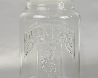 Vintage 1981 Planters Peanuts 75th Anniversary Glass Jar with Stopper, Mr. Peanut
