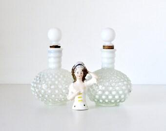 Vintage Hobnail Opalescent Milk Glass Perfume Bottles