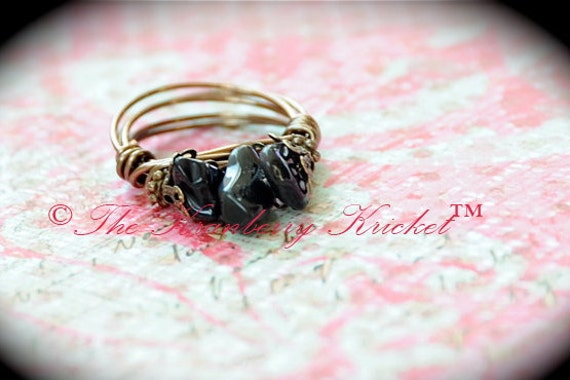 Black Obsidian Ring, Obsidian Gemstone, Lava Obsidian Ring, Brass Obsidian Ring, Bronze Obsidian Ring, Protection Gemstone Ring, Size 7