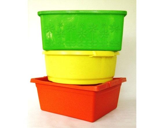 Plastic Wash Tub : Plastic Dishpan Wash Tub Lime Green Yellow Orange 1970s Kitchen Decor