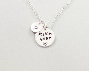 Inspirational jewelry personalized, sterling silver initial necklace custom words jewelry, graduation jewelry, silver