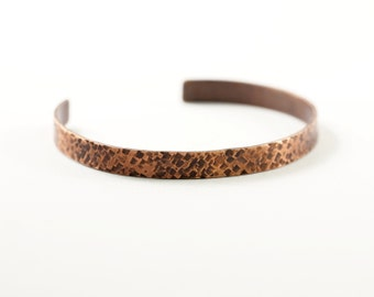 Skinny copper cuff bracelet, textured copper bracelet, handmade jewelry, copper bangle, rustic, thin cuff narrow bracelet