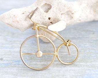 Penny Farthing Brooch - Golden Bicycle Lapel Pin