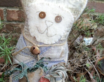 Extreme Primitive Gardening Bunny   Old Vintage Quilt bunny Cupboard Tuck Shelf Sitter