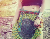 Mini Wrap Skirt, Peacock Hippie Skirt, Cover-Up, Boho, Gypsy, Moon Sunburst, Peacock Print, Skirt, Bohemian, Festival Skirt, Yoga