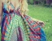 Handmade Mini Hippie Dress, Mandala Backless Dress, Festival, Bohemian, Hula Hoop Dress, Peacock,  Festival, Mandala, Silky Dress