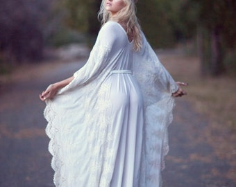 "Bohemian Wedding Dress Hippie Bohemian Gown Cream Ivory Chiffon Kaftan Crochet Lace - ""Tatum"""