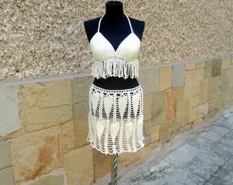Crochet Beach Cover up, Ivory Crochet Resort Top Skirt, Summer Cover up, Crochet Sexy Top, Two Pieces Set, Summer  Bikini Top, Crochet Bra