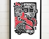Driving Robots Linolschnitt Schwarz & Rot A4