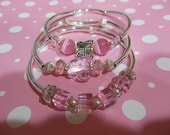 Pink glass bracelet set of 3