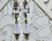 Opalescent Neoclassical White Opal Jewelry - White Opal Earrings
