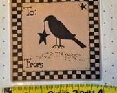 "Primitive Crow Gift Label 3.75"""