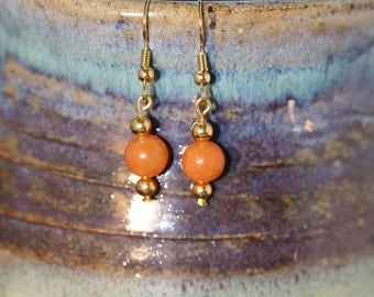 Peach Aventurine Bead Earrings - Item 1070