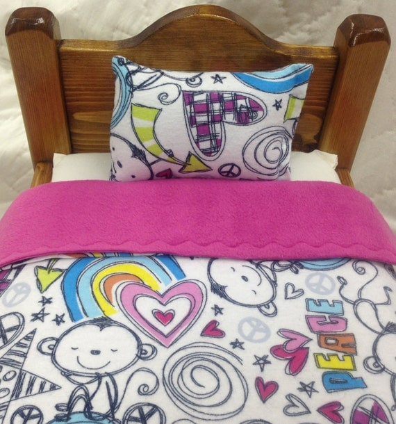 """DOLL BEDDING - 2 piece set for American Girl & 18"""" dolls - Peace monkeys with pink, orange, yellow or green fleece"""