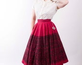 Vintage 1950s Skirt Red and Black Mexican Hand Painted 50s Vintage Full Circle Skirt Size Small