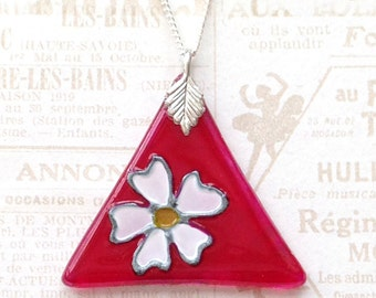 Glass Pendant in Pink with a White Flower, Hand Painted Glass Necklace, Glass Triangle Pendant, Floral Glass Necklace, Glass Jewelry