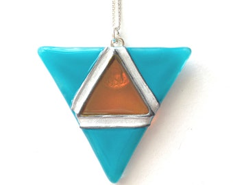 Geometric Glass Pendant in Turquoise & Amber, Hand Painted Glass Necklace, Triangle Pendant, Glass Necklace