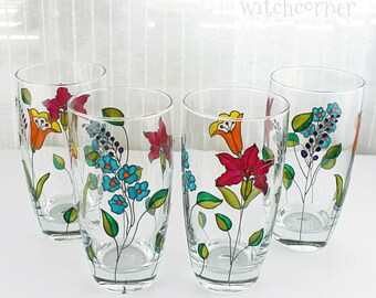 Hand Painted Glasses, Tumblers, Water Glasses, Glasses with Flowers, Iced Tea Glasses, Set of 2, Embroidery  Design, Drinking Glasses
