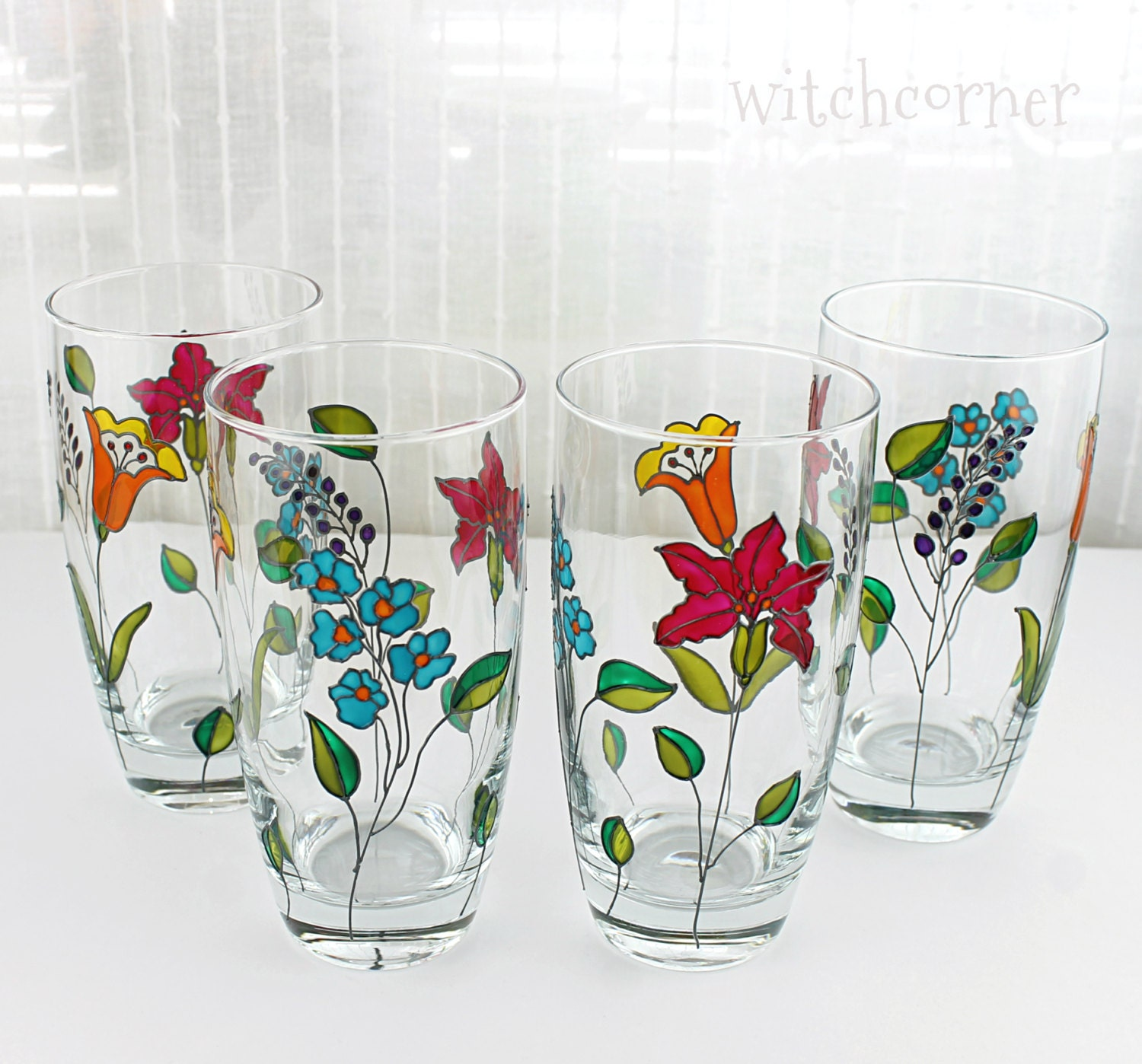 Hand painted glasses tumblers water glasses glasses with for Hand painted drinking glasses