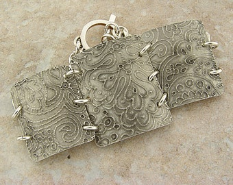 "Handmade Etched Pewter Curved Bracelet, 7"" Wrist, Doodles Theme"