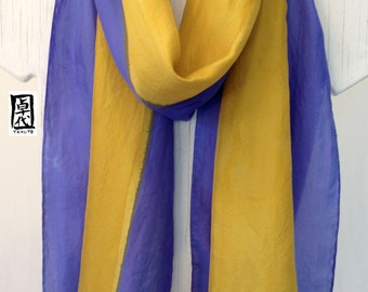 Hand Painted Silk Scarf, ETSY, Gift for her, Blue Purple and Yellow Zen Stripes Scarf, Large Silk Scarf, Made in the USA, 14x72 inches