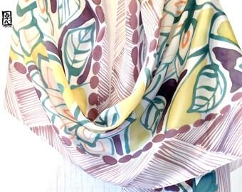 Hand Painted Silk Shawl, Brown Fall Japanese Floral Scarf, Silk Wrap, Brown Silk Shawl. 22x90 inches.