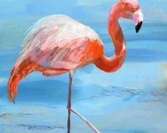 Pink & Blue Flamingo PRINT of original