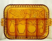 Indiana Glass Divided Relish Dish, Amber Glass Divided Relish Dish, Fruit Motif Relish Dish