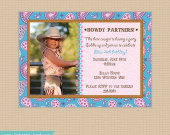 Cowgirl . Paisley Birthday Party Invitation . Any colors