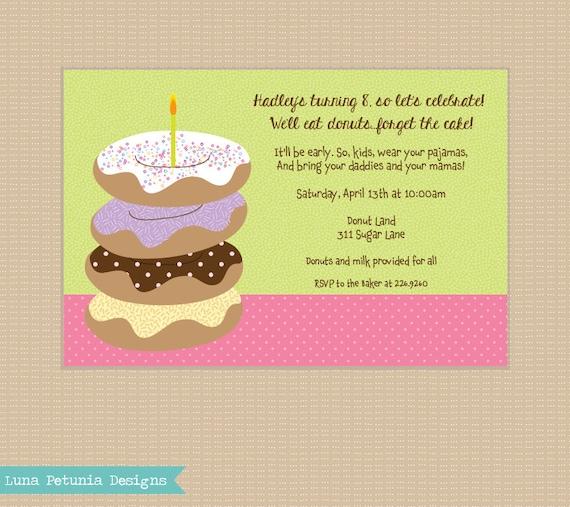Donut Party . Invitation . Any colors