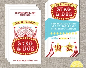 Stag and Doe Carnival Tickets - double sided tickets and matching digital poster by YellowBrickStudio