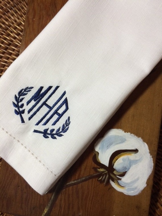 Custom Napkins Leaf Monogrammed By Whitetulipembroidery On