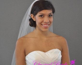 PLAIN ELBOW VEIL 30 Inch 1 Tier in White, Diamond White, or Ivory Tulle, custom handmade bridal wedding veil