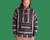 vintage cuamatzi mexican poncho / black, grey, white / size large / 90s baja surfer hoodie / black, white, grey
