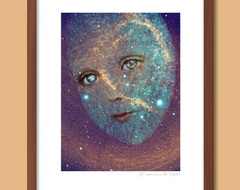 Soul People - Heaven Sent - Giclee Art Print - Limited Edition Print - Collage - Mixed Media Print - Face Print
