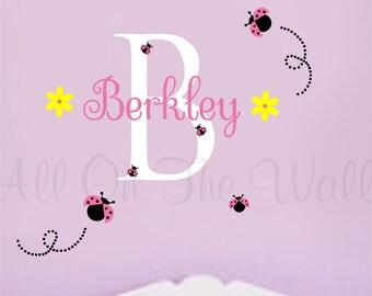 Wall Decal Ladybug Decals Girls Name Wall Decal Baby Girl Nursery Girls Bedroom Decor Vinyl Lettering