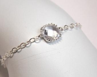 Clear Bracelet, Glass Bracelet, Crystal Bracelet, Sterling Silver Bracelet, Wedding Jewelry, Bridal, Bridesmaids Bracelet, Bridesmaid Gifts