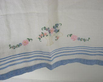 Vintage EMBROIDERED Tea TOWEL Linen PINK Flowers Blue Stripes Kitchen Linens