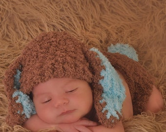 Bunny Rabbit Hat Baby Boy Easter Spring Newborn Photo Prop Chocolate Coffee Brown Turquoise Blue