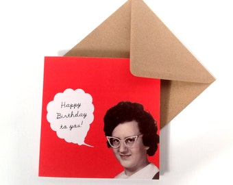 SALE -  Birthday to You 50's Lady Glasses Eco Friendly Art Square Greeting Card