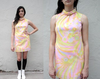 60's 70's Sherbert Floral Psychedelic Sleeveless Dress