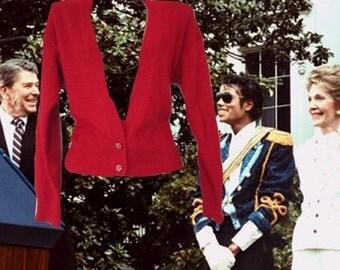 1980s vintage rhinestone red angora sweater size small medium 6 8