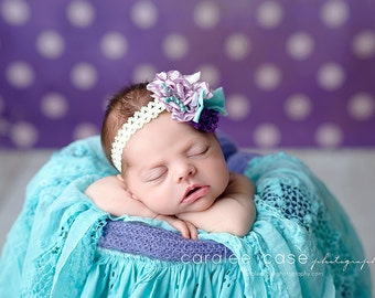 Lavender Purple, Aqua and Ivory Singed Satin Flowers, Chiffon Flower and Polka Dot Bow Headband or Hair Clip