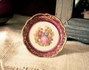 Vintage Original La Reine Limoges Miniature Porcelain Plate made in France