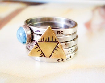 Mystic Triad and Turquoise Ring // Personalized Stacking Ring in Mixed Metals