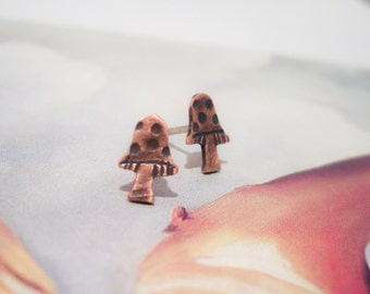 Copper Studs:  Sweet Mushroom